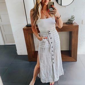 Stripe Button Front Maxi Skirt